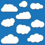 A set of black cloud icons in a trendy flat theme isolated from Royalty Free Stock Image