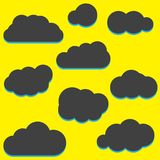 A set of black cloud icons in a trendy flat theme isolated from Stock Photo