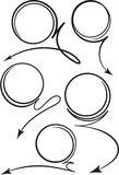 Set of 5 black coiled curved arrows icons for text or advertisin Royalty Free Stock Photos