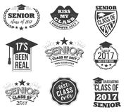 The set of black colored senior text signs with the Graduation Cap, ribbon vector illustration. Class of 2017 grunge. Badges on white background Royalty Free Stock Photos