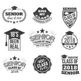 The set of black colored senior text signs with the Graduation Cap. Ribbon vector illustration. Class of 2018 grunge badges on white background stock illustration