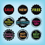 Set of black and colorful labels, badges and stickers Royalty Free Stock Images