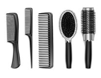 Set of black combs for hair isolated on white Royalty Free Stock Images
