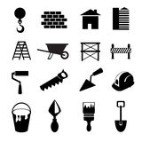 Set of black construction icons. Set of black and white construction icons Royalty Free Stock Photo