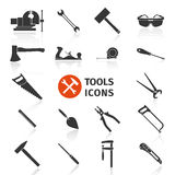 Set of black construction tools icons for working. royalty free illustration