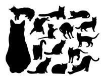 Set of black contour cats Stock Photos