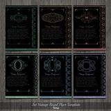 Set of black Creative Cards with monograms and pattern Royalty Free Stock Photography