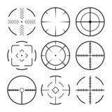 Set of black crosshairs icons. Royalty Free Stock Image