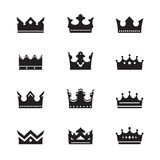 Set of black  crowns Stock Photography