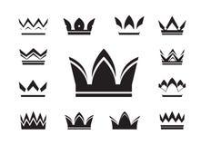 Set of black  crowns Stock Image
