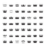 Set of black  crowns and icons Royalty Free Stock Photos
