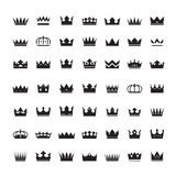Set of black  crowns and icons Stock Photography