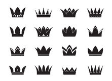 Set of black  crowns and icons Royalty Free Stock Image