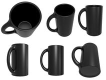 Set of black cups Royalty Free Stock Photo