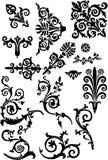 Set of black curled elements Stock Image