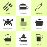 Set of black cutlery and dishes icons. Royalty Free Stock Image
