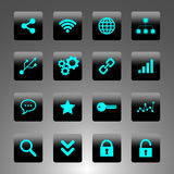 Set of black and cyan icons - technology, business and web Royalty Free Stock Photography