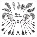 Set of black decorative feathers wings and arrows Royalty Free Stock Photo