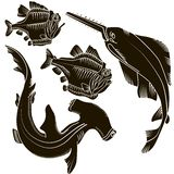 Set sharks. Set of black  design elements isolated sharks and fish piranha on white background. This image is a vector illustration Royalty Free Stock Photos