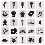 Set of black dessert icons. Dessert icon Vector Stock Photo