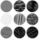 Set of Black Diagonal Strokes Patterns. Sketch Stock Image