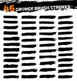 Set of black different grunge brush strokes Royalty Free Stock Photos