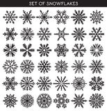 Set 36 black different snowflakes of handmade for design. Set 36 black different snowflakes of handwork for design. New Year's symbols. Snowflakes for design Stock Photos