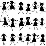 Set of black doodle children Stock Image