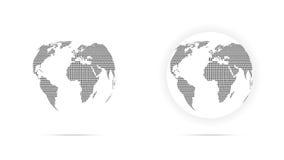 Set of black dotted globe. Set of black dotted world globe isolated on white background Stock Photo