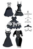 Set black dress with white lace Royalty Free Stock Image