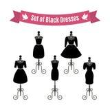 Set of Black Dresses. Vintage dresses on mannequins. Vector. Stock Photography