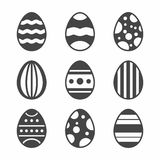 A set of black Easter Eggs decorated with ornament on white background. Vector Illustration.  Royalty Free Stock Images