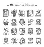 Set of Black Education Icons on White Background Stock Photos
