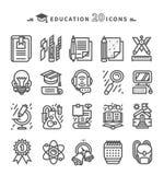 Set of Black Education Icons on White Background Stock Photos