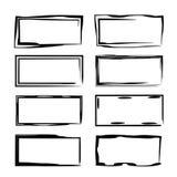 Set of black empy grunge frames. Vector illustration. stock illustration