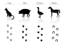 Set of Black Farm Animals and Birds Silhouettes: Cat, Pig, Goose Stock Photography
