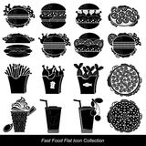 Set of black fast food icon food and drink Royalty Free Stock Photography