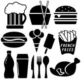 Set black fast food objects Royalty Free Stock Photography