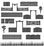 Set of black fences with gates Royalty Free Stock Photography