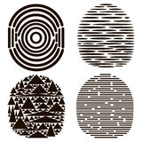 Set of 4 black fingerprints Stock Photo