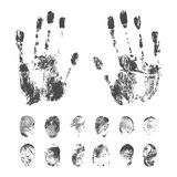 Set of Black Fingerprints on White Background. Set of a print a human finger and handprint. Black ink fingerprints on white background in vector Stock Photo