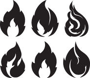 Set of 9 black fires for design or tattoo.  Stock Photo