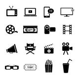 Set of black flat icons related to cinema, films and movie industry. Collection of several icons related to video recording, movies, cinema, theatre and film Royalty Free Stock Photo