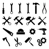 Set of black flat icons - tools, technology and work. Collection of black flat icons related to technology, tools, housework and construction. Fully editable Royalty Free Stock Photos