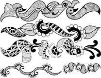 Set of black floral designs Stock Image