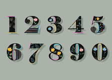 Set of Black Floral Numerals. Watercolor Flowers Stock Images