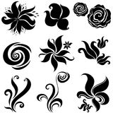 Set of black flower design elements Royalty Free Stock Photo