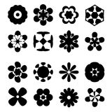 Set of black flower icons,  illustrations Royalty Free Stock Photography