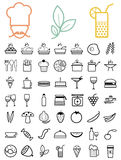 Set of black food and drinks icons. Stock Photos