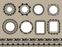 Set of black frame isolated Stock Image
